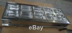 10-Pan Food Warmer Bain Marie Steam Table110V WITH 101/2Pans