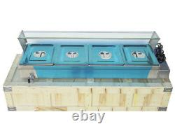 110V 4-Pan Commercial Stainless Steel Bain-Marie Buffet Food Warmer Steam Table