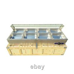 110V 8 Pan Commercial Stainless Steel Restaurant Table Buffet Food Warmer