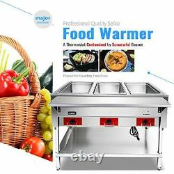 110 V Commercial Electric Food Warmer Kitma 3 Pot Stainless Steel Steam Table