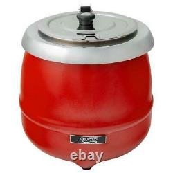 11 Qt. Round Red Countertop Food Soup Kettle Warmer Commercial Soup 120V 400W