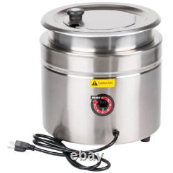 11 Qt. Stainless Steel Round Countertop Food Soup Kettle Warmer Restaurant 800W