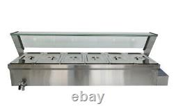 1500W 6-Pot Bain-Marie Food Warmer Food Heating For 61/3Pans 110V
