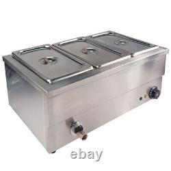 1500W Bain Marie Commercial Wet Well Heat Electric Food Warmer 3 Pan Caterin