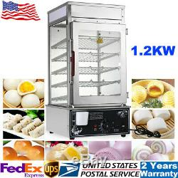 1.2KW 5-Layer Electric Commercial Bun Food Steamer Warmer Cooker Machine 110V US