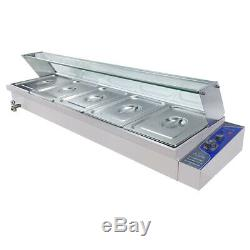 1.8KW Commercial 5 Pan Bain Marie Electric Steam Food Warmer Buffet Steamer