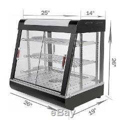 1x Commercial Food Warmer Court Heat Food pizza Display Warmer Cabinet 27Glass