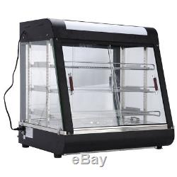 27Commercial Food Warmer Court Heat Food pizza Display Warmer Cabinet Glass USA