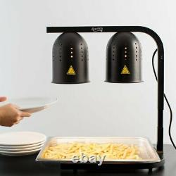 2 Bulb Free Standing Black Heat Lamp Commercial Kitchen Food Warmer 120 Volts