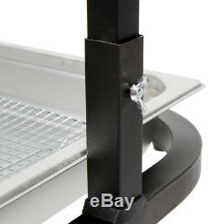 2 Bulb Free Standing Black Heat Lamp / Food Warmer with Pan and Grate 120 V