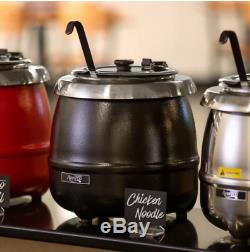 2 Pack Round Food Soup Kettle Pot Warmer Electric Commercial Restaurant Black