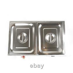 2 Pan Hot Well Bain Marie Food Warmer 110V 850W Steam Table Steamer stainless US