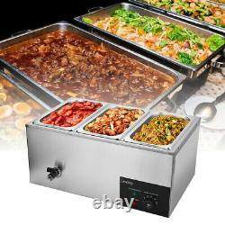 3Cells 600W Electric Food Warmer Bain Marie Steam Table Countertop Commercial US