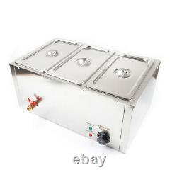 3X7L Electric Food Warmer Countertop Restaurant Cooking 201 Stainless Steel 850w
