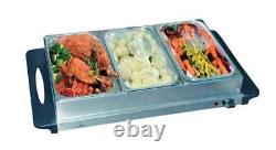 3 Pan Electric Stainless Steel Buffet Server And Food Warming Tray / Table Top