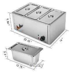3-Pan Food Warmer Steam Table Steamer 3 Deep Buffet Countertop Heavy Gauge Pans