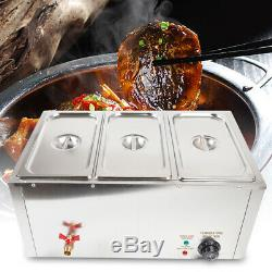 3-Pan Food Warmer Steam Table Steamer 3 Pots Large Capacity Portable 850W 110V
