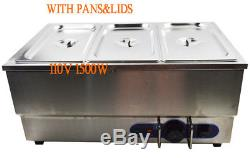 3-Pot Electric Food Warmer Bain Marie Buffet Equipment Stainless Steel 6Pan