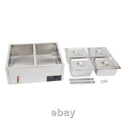 4-Pan Countertop Food Warmer Electric Steam Table For Buffet Commercial 850W USA