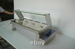 4 Pot Electric Food Warmer 1/3Pan Stainless Steel Hot Well Glass Sneeze Guard