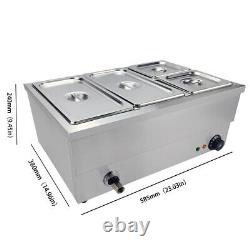 4 pans Electric Bain Marie Stainless Steel Display Commercial Food Warmer