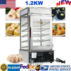 5-Layer Commercial Food Steamer Machine Buns Electric Steamer Warmer Cooker 110V