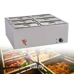 6 Pan Bain Marie Electric Food Warmer Buffet Steam Commercial Large Countertop