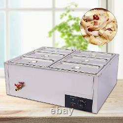 6 Pan Commercial Food Soup Warmer Steam Table 110V Server for Catering