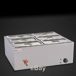 6-Pan Electric Commercial Food Warmer 850W Stainless Steel Bain Marie Buffet USA