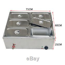 6-Pan Electric Food Warmer Steam Table Steamer Wet Heat 6 Sections Countertop
