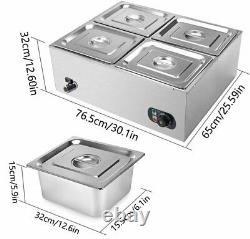 6 Pan Electric Food Warmer with Lid for Catering Restaurants Food Warmer Steam