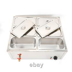 6-Pan Food Warmer Steam Table Steamer Electric Bain-Marie Soup Station 850W 110v