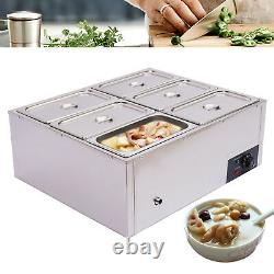 6-Pan Steamer Commercial Food Warmer Stainless Steel Electric Countertop Buffet