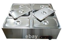 6 Pans Electric Chocolate Melter Dry Well Food Warmer Hot Water Bath