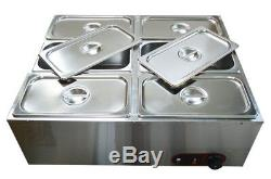 6 Pans Electric Chocolate Melter Dry Well Food Warmer Pot