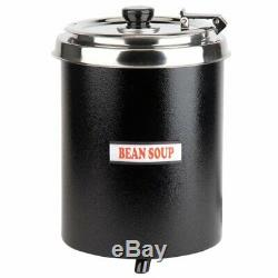 6 Qt Round Countertop Electric Food/Soup Kettle Warmer-110V, 300W W3000BK-Black