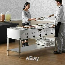 71 5-Pan Stainless Steel Electric Steam Table Buffet Food Warmer 208/240 Volt