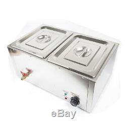 850W Commercial Electric Food Warmer Steam Table Steamer Buffet Countertop 2-Pan