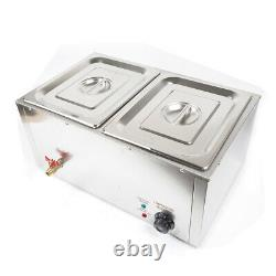 850W Portable 2-Pan Food Warmer Steam Table Steamer Electric Buffet Countertop