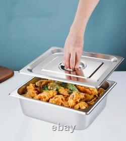 8-Pot Electric Food Warmer Bain-Marie Buffet Steam Table 1500W 1/3 Size with lid
