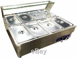 8 pcs 1/3 pan Electric Food Warmer Steam Table Bain-Marie Buffet with Sneeze Guard