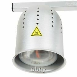 Avantco 2 Bulb Silver Standing Heat Lamp Food Warmer with Pan Grate 120V, 500W