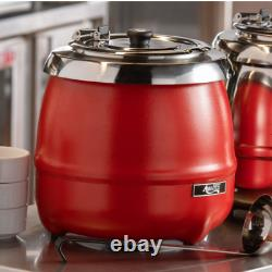 Avantco S30RD 11 Qt. Round Red Countertop Food / Soup Kettle Warmer 120V, 400W