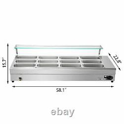 Bain Marie Food Warmer Commercial Food Steam Table 12 Pans withGlass Shield 1/3Pan