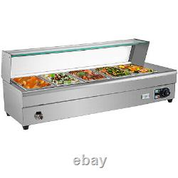 Bain Marie Food Warmer Commercial Food Steam Table 5 Pans withGlass Shield 1/2Pan
