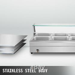 Bain Marie Food Warmer, Commercial Food Steam Table, 8 Pans, with Glass Shield