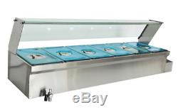 Brand NEW 1500W 6-Pot Bain-Marie Food Warmer Food Heating For 61/3Pans 110V