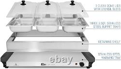 Buffet Server 3 Tray Food Electric Warming Brushed Stainless Steel Warmer 3 x1.6
