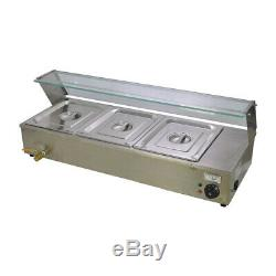Commercial 3 Pan Top New Food Warmer Holder Electric Bain Marie Updated & Lids
