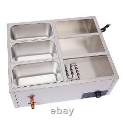 Commercial 6-Pan Electric Food Warmer withCovers Kitchen Warming Equipment 1.84Gal